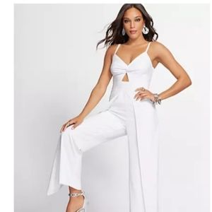White Overlay Jumpsuit Gabrielle Union Collection